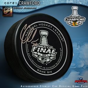 COREY CRAWFORD Signed Chicago Blackhawks Stanley Cup Game 6 Official Game Puck