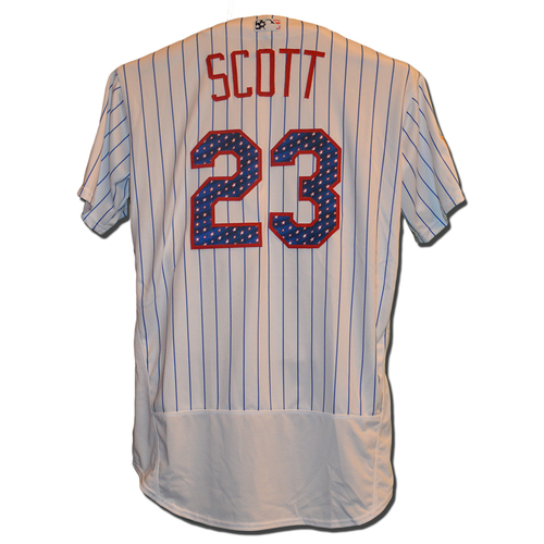 Photo of Dick Scott #23 - Game Used White Pinstripe 4th of July Jersey - Mets vs. Phillies - 7/2/17