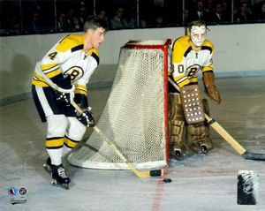 Bobby Orr Boston Bruins Action Image With Gerry Cheevers Hockey Hall Of Fame Collection 8x10 Photo
