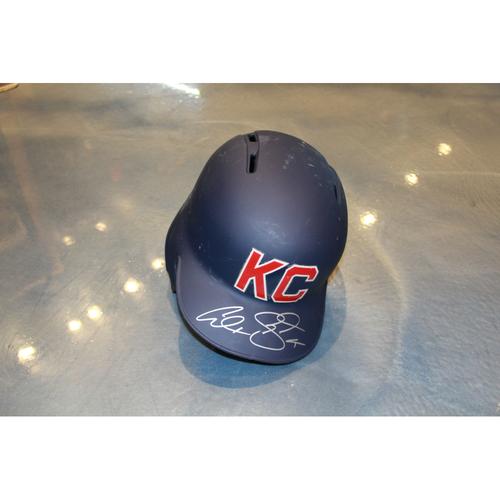 Photo of Alex Gordon Autographed Game-Used Kansas City Monarchs Helmet (5/7/2017) (Size 7 3/4)