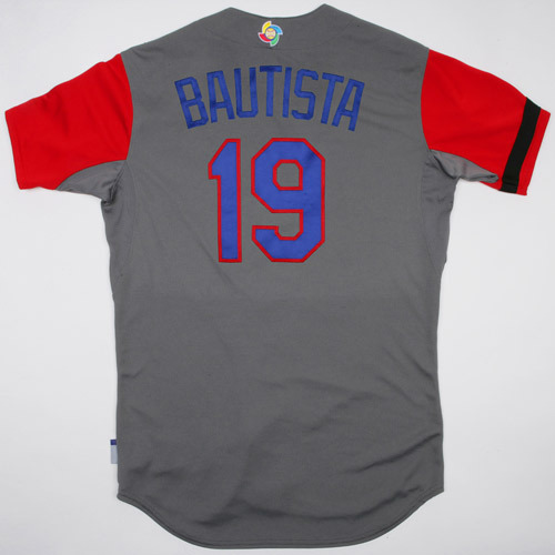 Photo of 2017 WBC Dominican Republic Game-Used Road Jersey, Bautista #19