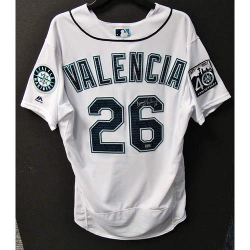 Photo of Mariners Care Hurricane Irma Relief - Danny Valencia Game-Used and Autographed Marineros Jersey 9-9-2017 Size 46