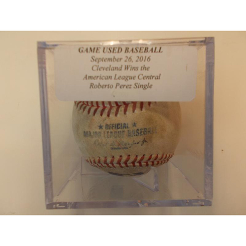 Photo of Game-Used Baseball: Cleveland Indians Win AL Central and Roberto Perez Hits a Single