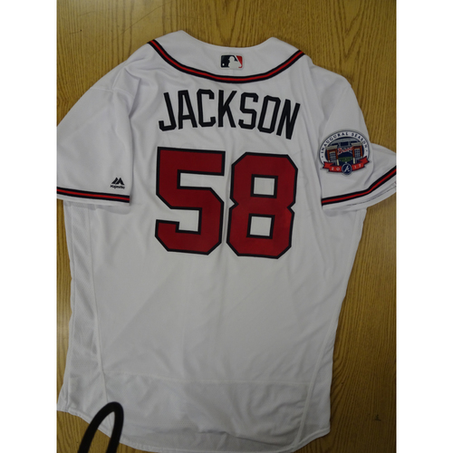 Photo of Luke Jackson Game-Used Los Bravos Jersey - Worn 9/17/17 at SunTrust Park