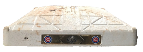 Photo of Game-Used 2nd Base -- Innings 1 through 2 -- 2017 Postseason -- NLCS Game 4 -- Dodgers vs. Cubs -- 10/18/17