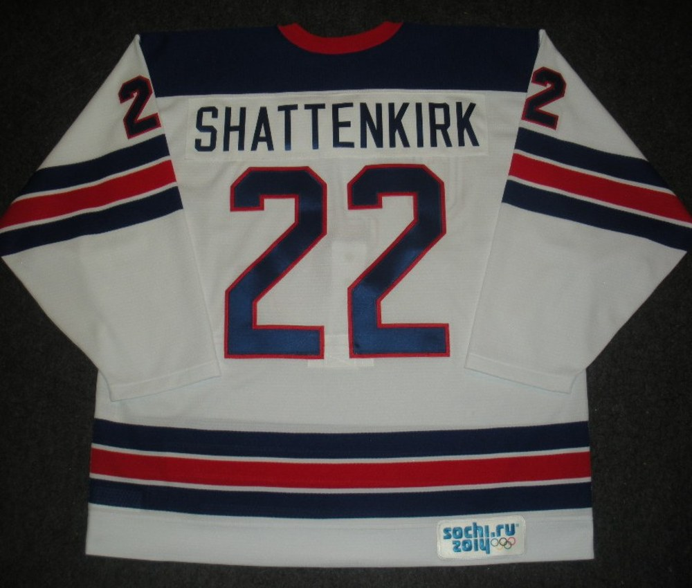 Kevin Shattenkirk - Sochi 2014 - Winter Olympic Games - Team USA Throwback Game-Worn Jersey - Worn in Warmups and 1st Period vs. Slovenia, 2/16/14