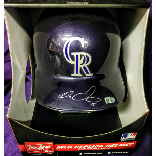 Photo of Colorado Rockies Carlos Gonzalez Autographed Replica Batting Helmet