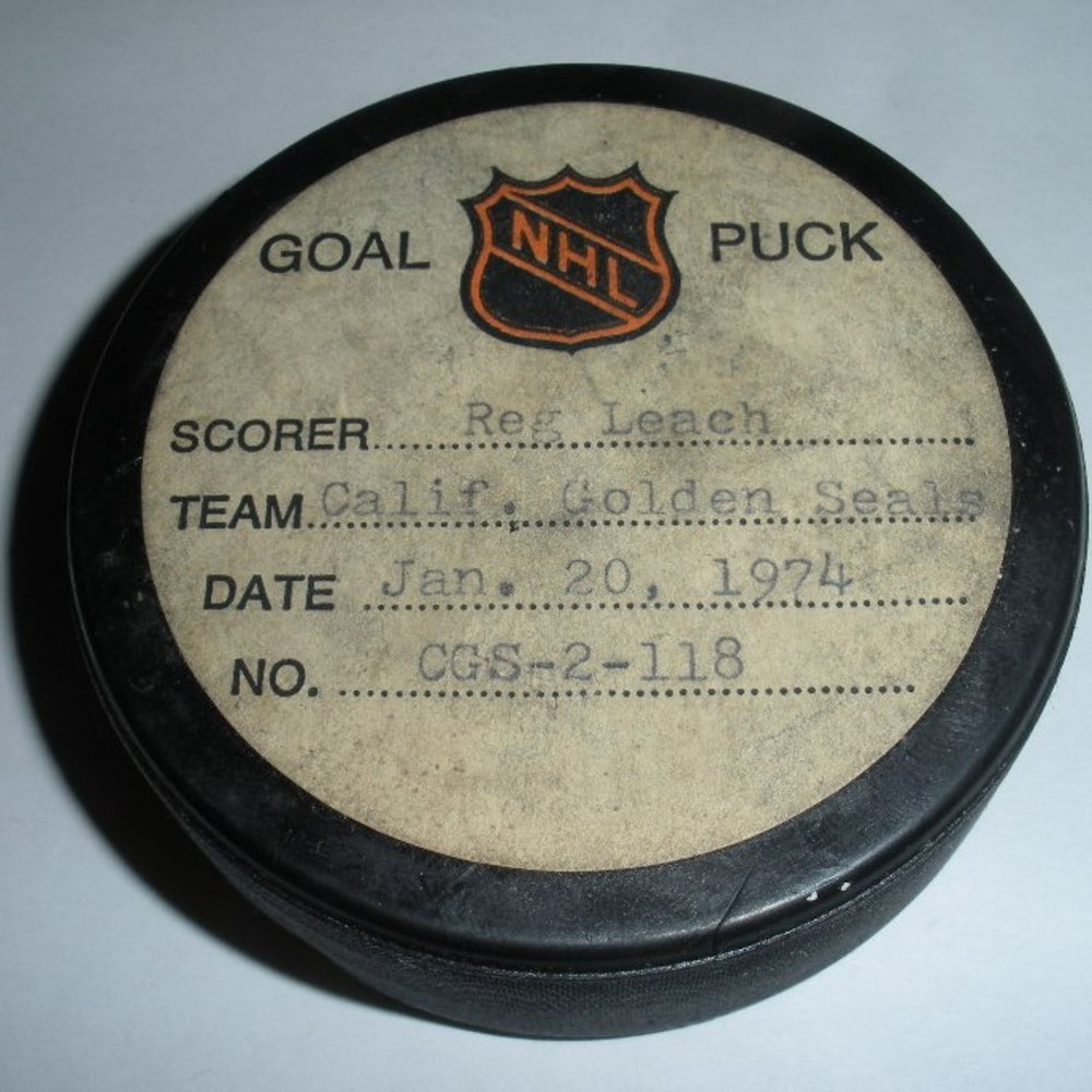 Reg Leach - California Golden Seals - Goal Puck - January 20, 1974 (No Logo)