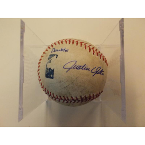 Photo of Autographed Game-Used Baseball: Justin Upton Double and Steven Moya Double