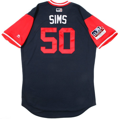 """Photo of Lucas """"Sims"""" Sims Atlanta Braves Game-Used Players Weekend Jersey"""
