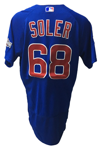 Photo of Jorge Soler Game-Used Jersey -- 2016 World Champion Season -- NLDS Game 3 -- Cubs vs Giants -- 10/10/16