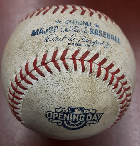 Photo of Authenticated Game Used Baseball (Top 3): Travis Shaw reaches on a fielder's choice, fielded by second baseman Devon Travis.   Keon Broxton scores.  Throwing error by second baseman Devon Travis. (41st Blue Jays Home Opener)