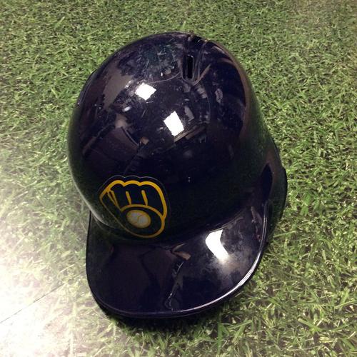 Photo of Keon Broxton 2016 Game-Used Navy Alternate Batting Helmet