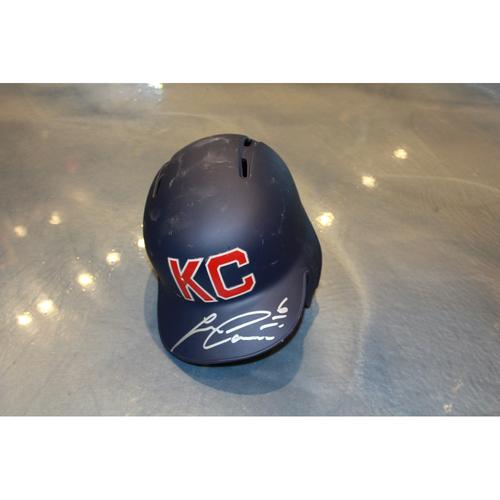 Photo of Lorenzo Cain Autographed Game-Used Kansas City Monarchs Helmet (5/7/2017) (Size 7 1/4)