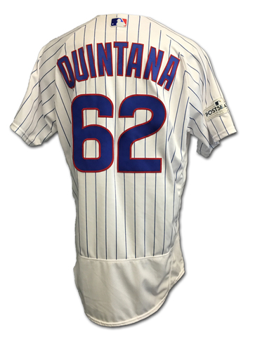 Photo of Jose Quintana 2017 Postseason Game-Used Jersey -- 10/9 vs. Nationals: NLDS Game 3 -- 10/18 vs. Dodgers: NLCS Game 4