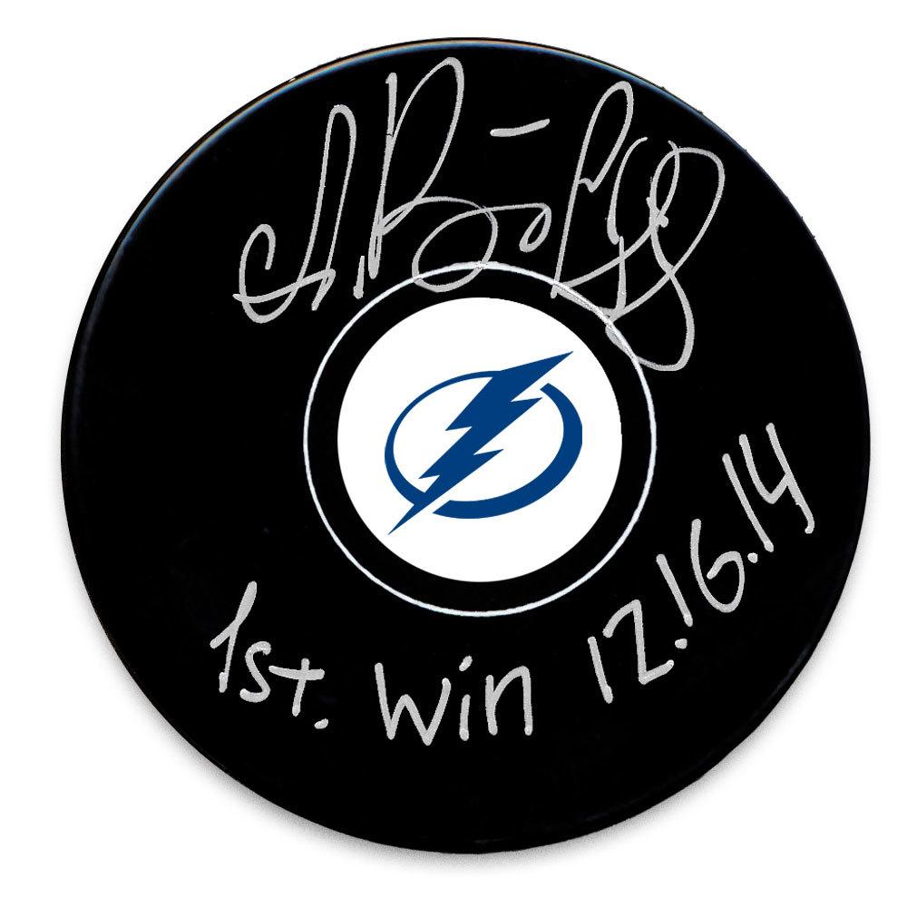 Andrei Vasilevskiy Tampa Bay Lightning 1st Win 12.16.14 Autographed Puck