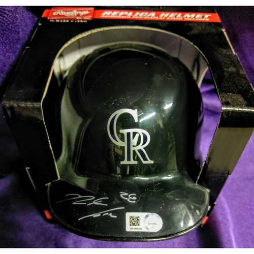 Photo of Colorado Rockies Nolan Arenado Autographed Mini Batting Helmet