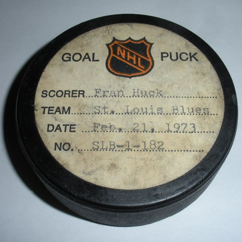 Fran Huck - St. Louis Blues - Goal Puck - February 21, 1973  (No Logo)