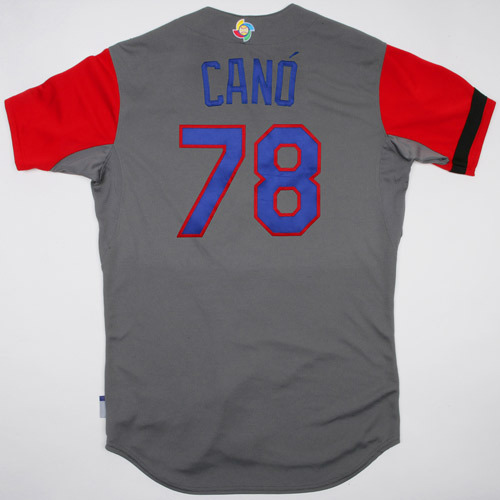 Photo of 2017 WBC Dominican Republic Game-Used Road Jersey, Cano #78