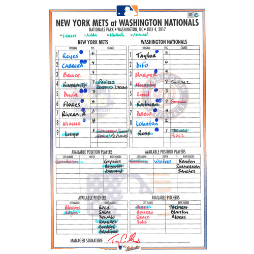 Photo of Game Used Lineup Card - Mets vs. Nationals - 7/4/17