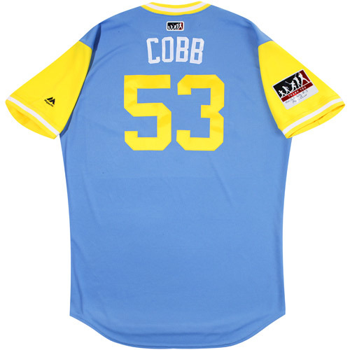 "Photo of Alex ""Cobb"" Cobb Tampa Bay Rays Game-Used Players Weekend Jersey"
