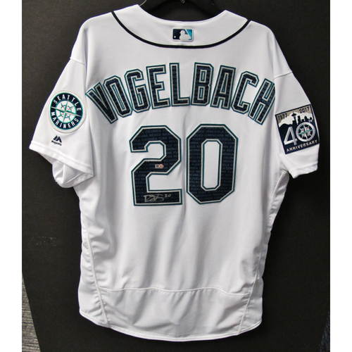 Photo of Mariners Care Hurricane Irma Relief - Daniel Vogelbach Game-Used and Autographed Marineros Jersey 9-9-2017 Size 50