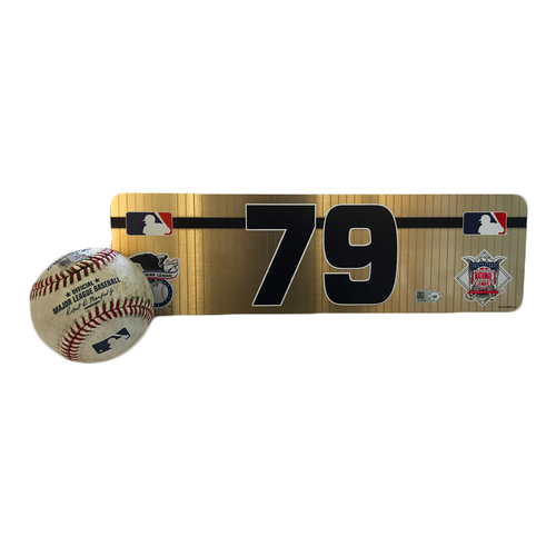 Photo of Jose Abreu Game-Used Ball and #79 Visiting Locker Plate