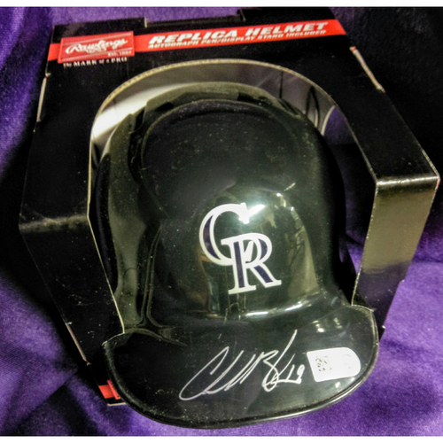 Photo of Colorado Rockies Charlie Blackmon Autographed Mini Batting Helmet