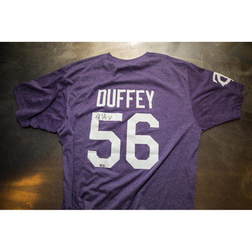 Photo of Autographed Tyler Duffey Prince Night Batting Practice T-Shirt