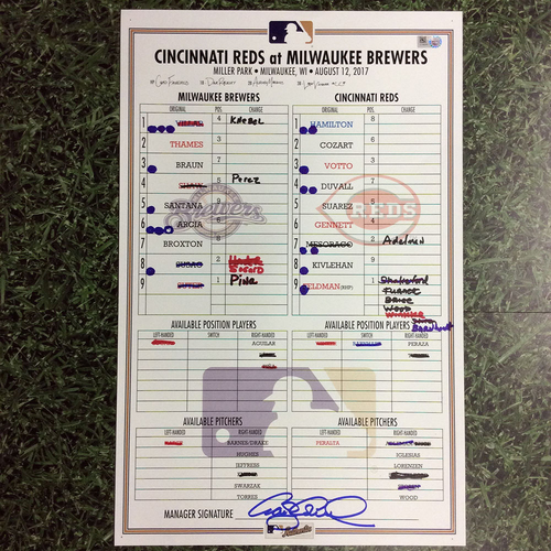 Photo of CIN @ MIL 08/12/17 Lineup Card - Win 6-5 F/10: Sogard Scores on Wild Pitch for Walk-Off Win; Shaw/Braun/Thames HRs