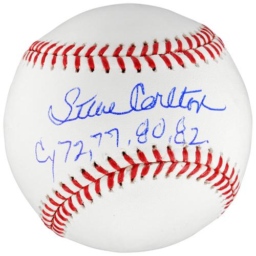 Photo of Steve Carlton Philadelphia Phillies Autographed Baseball with Cy 72, 77, 80, 82 Inscription