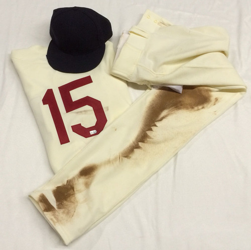 Braves Authentics: Phil Gosselin Game-Used Jersey, Pants, and Cap - Atlanta Braves Turn Back the Clock Night, August 16, 2014 - Boston Braves 1914 Replica.
