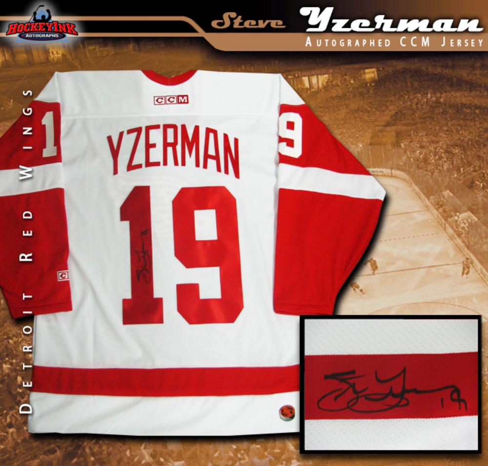 STEVE YZERMAN Signed White Detroit Red Wings Jersey