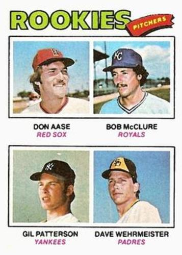 Photo of 1977 Topps #472 Rookie Pitchers/Don Aase/Bob McClure/Gil Patterson RC/Dave Wehrmeister RC/UER Sheldo