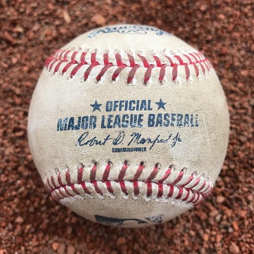 Photo of San Francisco Giants - 2017 Game-Used Baseball - Johnny Cueto strikes out Cody Bellinger