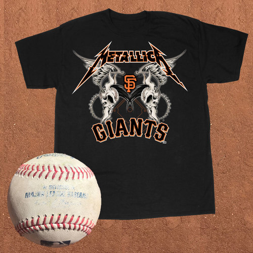 Photo of San Francisco Giants - Metallica Night at AT&T Park - T-Shirt and Game-Used Baseball Bundle (size XL)