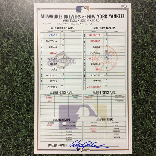 Photo of MIL @ NYY 07/07/17 Lineup Card - Win 9-4: Aaron Judge HR (30) Passes Joe DiMaggio's Yankees Rookie HR Record; Josh Hader's 1st MLB Win