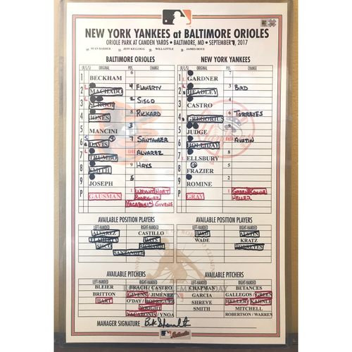 September 7, 2017 Game-Used Lineup Card: Roberto Clemente Day, Aaron Judge's 39th Homerun of 2017
