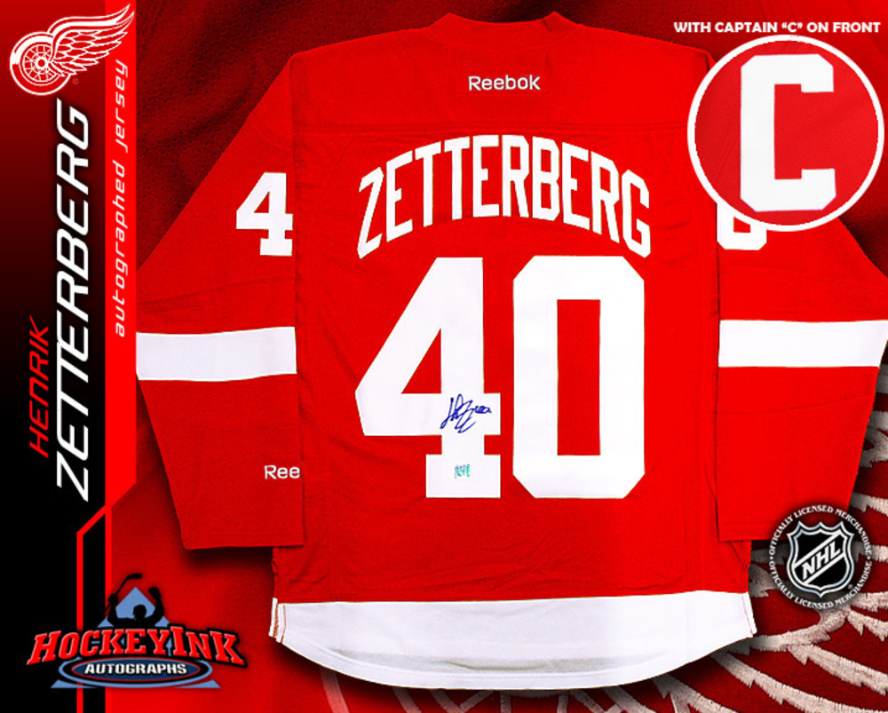 HENRIK ZETTERBERG Signed Reebok Red Detroit Red Wings Jersey with Captain C