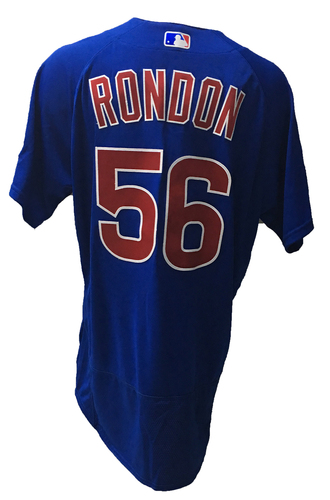 Photo of Hector Rondon Game-Used Jersey -- 2016 World Champion Season -- NLDS Game 3 -- Cubs vs Giants -- 10/10/16