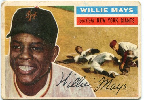 Photo of 1956 Topps #130 Willie Mays -- Giants Hall of Famer