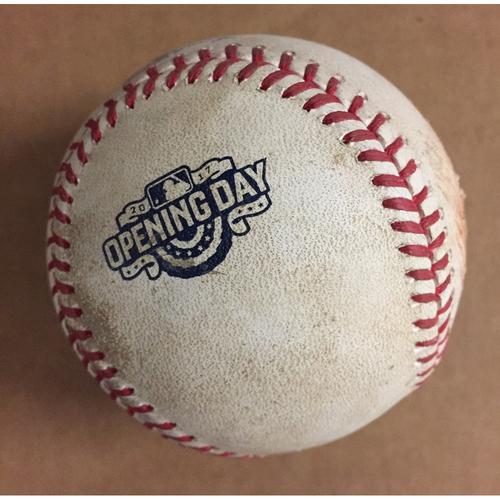 Photo of Game-Used Baseball used during the First Game at SunTrust Park-April 14, 2017