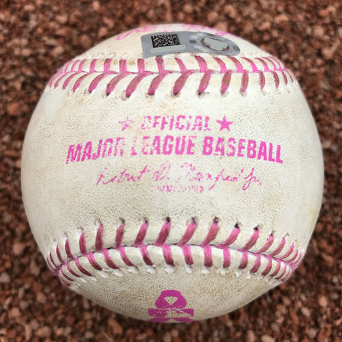 Photo of San Francisco Giants - 2015 Game-Used Baseball - Mother's Day Ball with Pink Stitching
