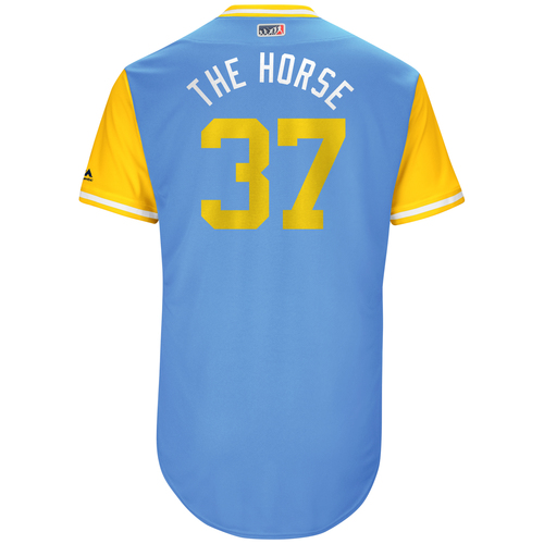 "Photo of Alex ""The Horse"" Colome Tampa Bay Rays Game-Used Players Weekend Jersey"