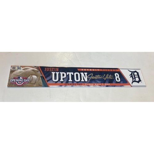 Photo of Autographed Game-Used 2017 Opening Day Locker Name Plate: Justin Upton