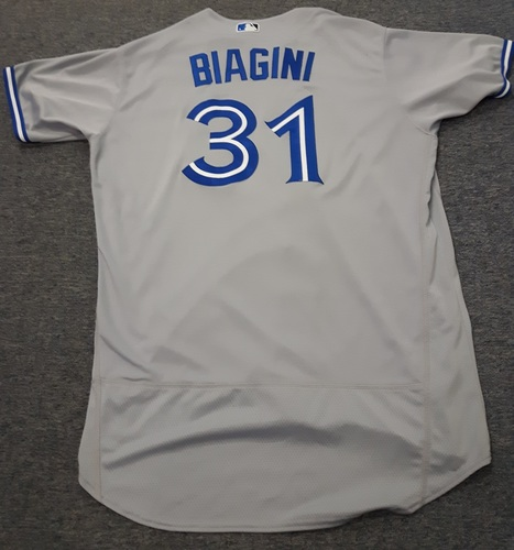 Photo of Authenticated Game Used Jersey - #31 Joe Biagini. July 31, 2017: 0.1 IP, 2 Hits, 3 ER and 1 Walk. September 1, 2017: 7 IP, 5 Hits, 0 ER, 1 Walk and 10 Ks. Size 52.