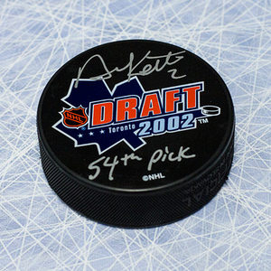 Duncan Keith 2002 Draft Day Puck Autographed with 54th Pick Inscription *Chicago Blackhawks*