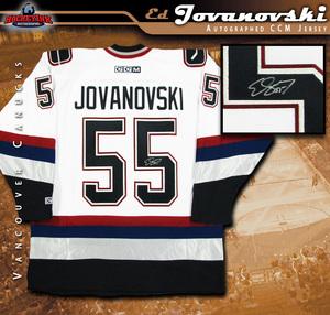ED JOVANOVSKI Signed White Vancouver Canucks CCM Jersey