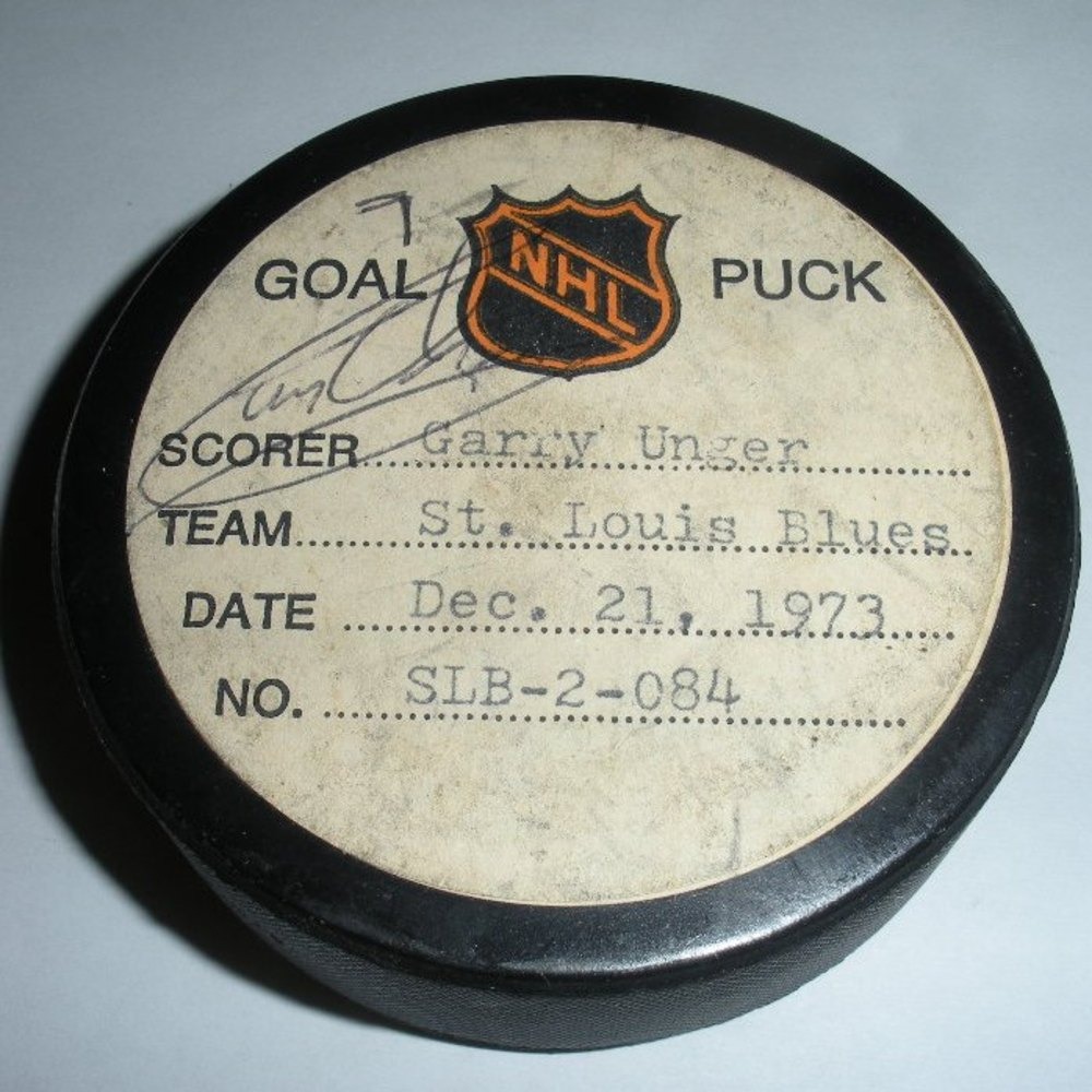Garry Unger - St. Louis Blues - Goal Puck - December 21, 1973 - Autographed (Atlanta Flames Logo)