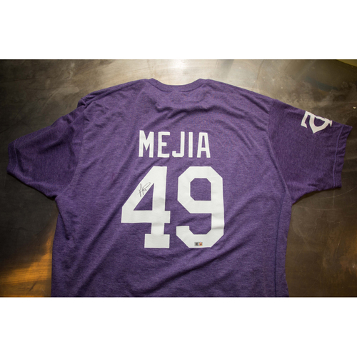 Photo of Autographed Adalberto Mejia Prince Night Batting Practice T-Shirt